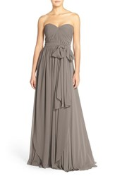 Women's Jenny Yoo 'Mira' Convertible Strapless Pleat Chiffon Gown Charcoal