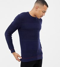 Ted Baker Tall Jumper In Chunky Cable Knit With Hem Detail Navy