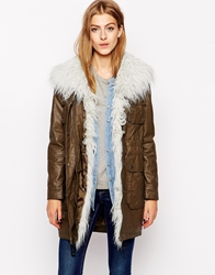 Urbancode Coated Canvas Parka With Faux Fur Collar Green