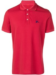 Isaia Chest Logo Polo Shirt Red