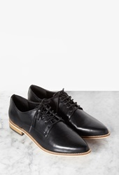 Forever 21 Faux Leather Pointed Toe Oxfords Black