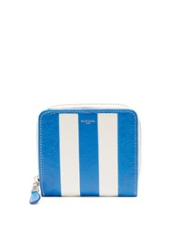 Balenciaga Bazar Zip Around Leather Wallet Blue Stripe