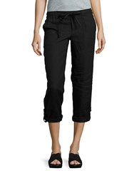 Lord And Taylor Petite Cropped Linen Pants Black