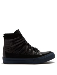 Damir Doma Falco High Top Leather And Suede Trainers Black Multi