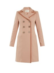 Goat Double Breasted Frayed Edge Cotton Coat Pink