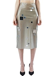Anne Sofie Madsen Mid Length Latex Mirrored Skirt Khaki