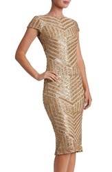 Dress The Population Women's Katerina Body Con Brushed Gold Nude