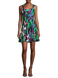 Nicole Miller Crisscross Back Printed Dress Purple Multi