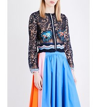 Peter Pilotto Palm Embroidered Lace Jacket Navy