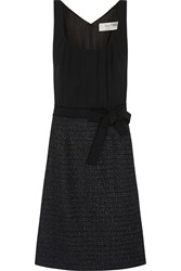 Valentino Roma Crepe And Wool Blend Boucle Tweed Dress Black