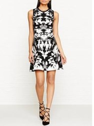 Karen Millen Scattered Floral Jacquard Knitted Fit And Flare Dress Black White Black White