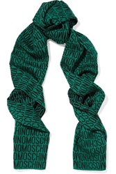 Moschino Printed Wool Scarf Emerald