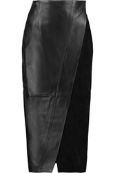 Iris And Ink Suede Paneled Leather Wrap Skirt Black