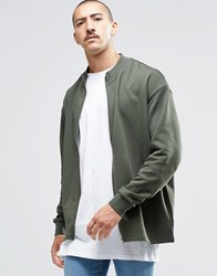 Asos Oversized Jersey Bomber Jacket In Khaki Forest Nights Green