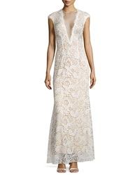 Jovani Lace Overlay Cap Sleeve Gown Ivory