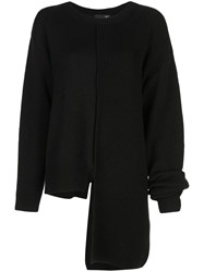 Y's Ribbed Panelled Asymmetric Jumper Black