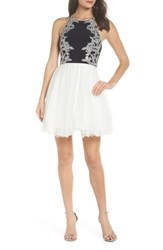 Blondie Nites Applique Mesh Fit And Flare Dress Navy Ivory Silver