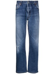 Re Done High Waisted Straight Leg Jeans Blue