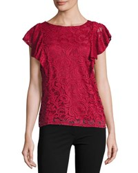 Tahari By Arthur S. Levine Ruffle Sleeve Lace Overlay Blouse Red