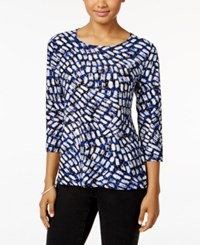 Jm Collection Jacquard Three Quarter Sleeve Top Only At Macy's Blue Swirl Blocks