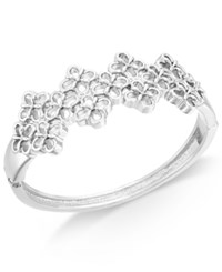 Charter Club Openwork Flower Hinged Bangle Bracelet Only At Macy's Silver