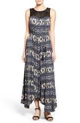 Women's Lucky Brand Crochet Yoke Stripe Print Asymmetrical Maxi Dress