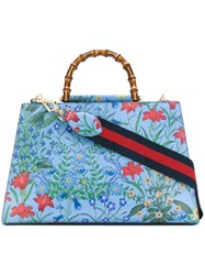 Gucci Nymphaea Flora Tote Bag Women Leather One Size Blue