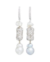 Margot Mckinney Jewelry Linear Diamond And Baroque Pearl Drop Earrings In 18K White Gold