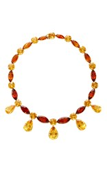 Sabbadini 18K Yellow Gold Fancy Cut Light And Dark Citrines Necklace Orange