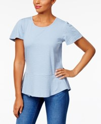 Style And Co Petite Cotton Textured Peplum Top Created For Macy's Industrial Blue