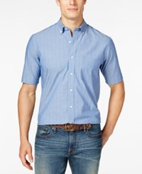 Club Room Men's Dot Print Short Sleeve Shirt Blue Chambray