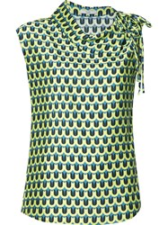 Tome 'Geometric Print Asymmetric Collared' Blouse Green