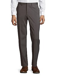 Michael Kors Wool Blend Flat Front Trousers Taupe