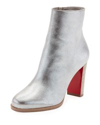 Christian Louboutin Adox Metallic Stack Heel Red Sole Bootie Gray