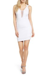 Love Nickie Lew Women's Sheer Inset Body Con Dress White