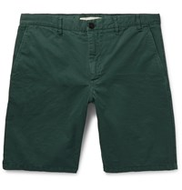 Norse Projects Aros Slim Fit Garment Dyed Cotton Twill Shorts Green