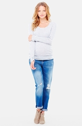 Ingrid And Isabel Stripe Scoop Neck Maternity Tee Grey Stripe
