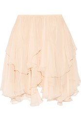 Chloe Tiered Silk Crepon Mini Skirt Peach