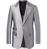 Tom Ford Silver Shelton Twill Suit Jacket Silver