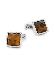 Ike Behar Tiger's Eye Square Cufflinks Brown