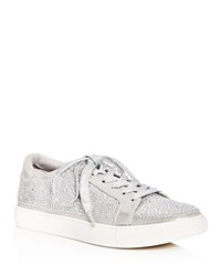 Kenneth Cole Women's Kam Shine Embellished Nubuck Leather Lace Up Platform Sneakers Silver