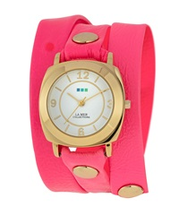 La Mer Odyssey Simple Leather Wrap Watch Neon Pink