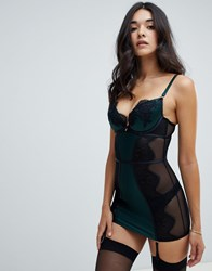 Ann Summers Forest Lace Cami Suspender Dress Green