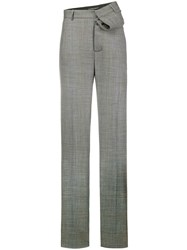 Y Project Asymmetric Waist Trousers Grey