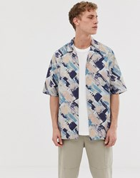 Asos White Shirt In Watercolour Print With Half Sleeve Blue