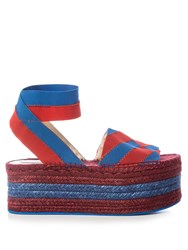 Stella Mccartney Striped Bi Colour Espadrille Sandals Blue Stripe