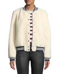 Belle Fare Lamb Fur And Contrast Baseball Jacket Cream