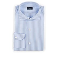 Finamore Striped Cotton Poplin Dress Shirt Lt. Blue