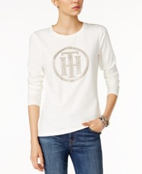 Tommy Hilfiger Embellished Graphic Top Only At Macy's Ivory Gold