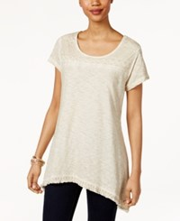 Style And Co Fringe Hem Lace Yoke Top Only At Macy's Stonewall